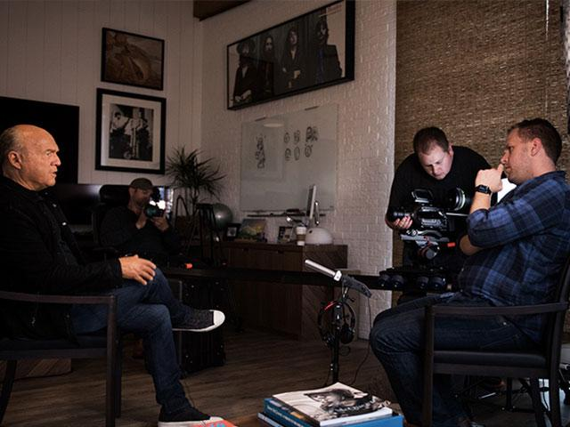 Jon Erwin on the set of Steve McQueen: American Icon documentary, cr: Josh Del