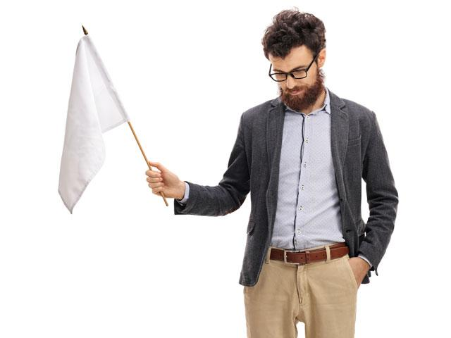 Husband with white flag of surrender