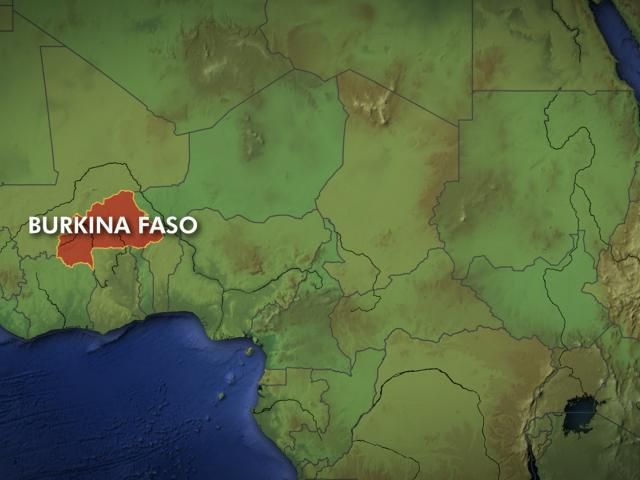 Map showing location of Burkina Faso.