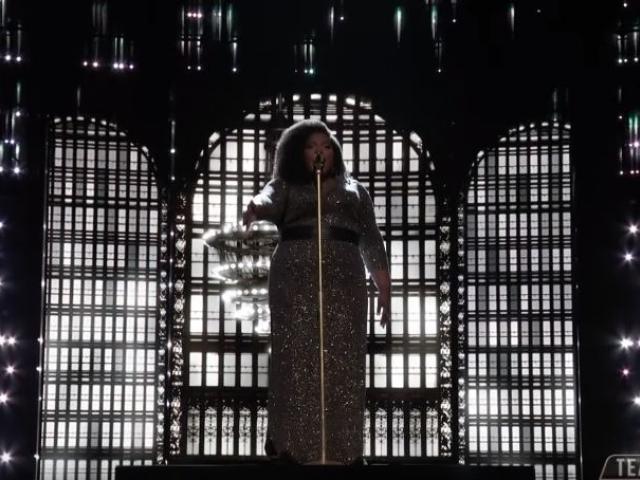 "Kymberli Joye performing """"Break Every Chain"" on NBC"