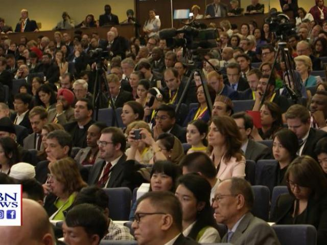 The packed conference room at the start of the Ministerial to Advance Religious Freedom Tuesday in Washington, D.C. (Image credit: CBN News)