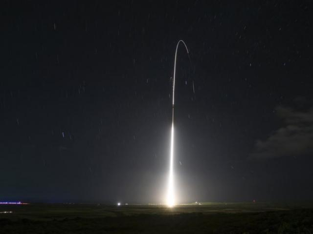 This Dec. 10, 2018, file photo, provided by the U.S. Missile Defense Agency (MDA),shows the launch of the U.S. military's land-based Aegis missile defense testing system. (Mark Wright/Missile Defense Agency via AP)