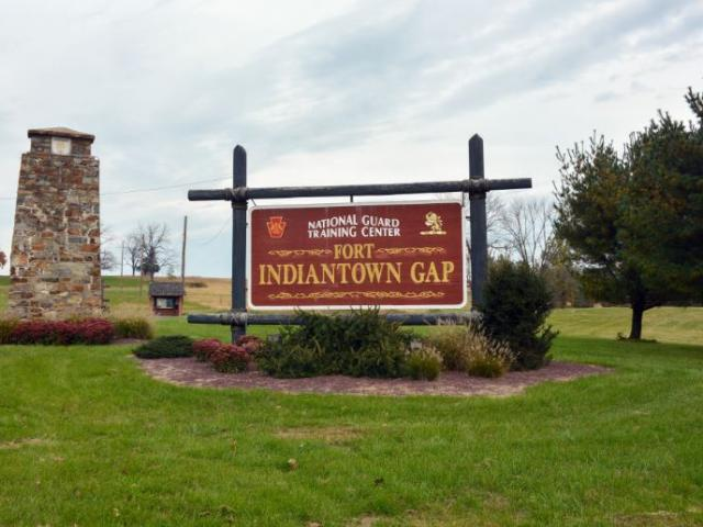 The Fort Indiantown Gap National Guard Training Center sign located at the southwest entrance to the post. (Image credit: Sgt. Shane Smith/nationalguard.mil)