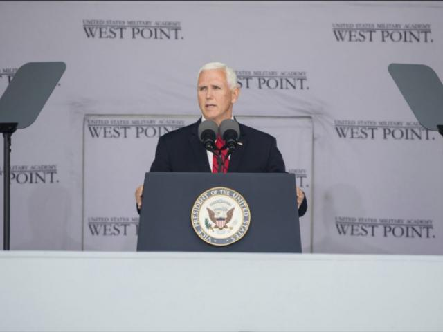 Vice President Mike Pence speaks during graduation ceremonies at the United States Military Academy, Saturday, May 25, 2019, in West Point, N.Y. (AP Photo/Julius Constantine Motal)