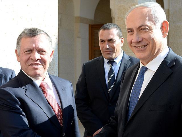 Jordanian King Abdullah II Greets Israeli Prime Minister Benjamin Netanyahu in Amman, Photo, Kobi Gideon, GPO archive
