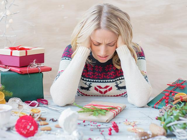 Christmas overwhelmed woman