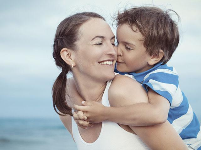 Happy mom with son