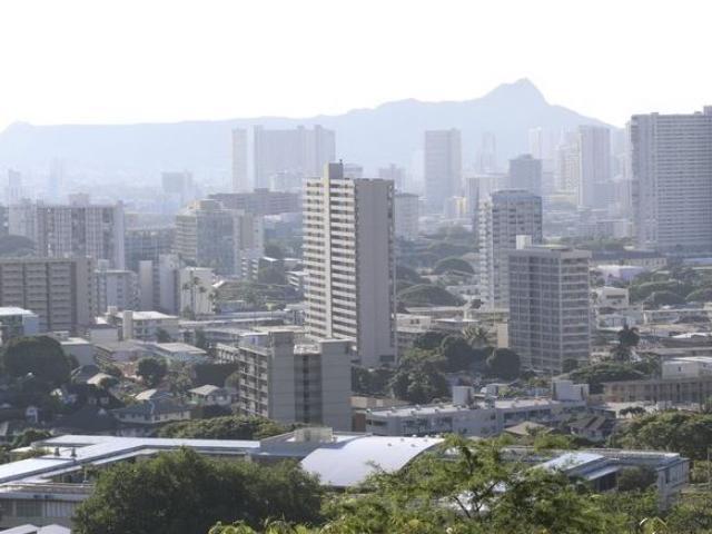 Diamond Head and high-rises are seen in Honolulu on Saturday, Jan. 13, 2018. AP Photo