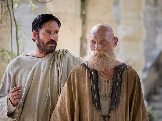 Jim Caviezel and James Faulkner in Paul Apostle of Christ movie