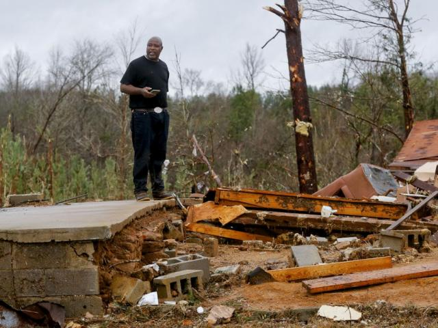 A tornado devastated homes along Settlement Road near Carrollton in Pickens County, Ala., killing several people Saturday, Jan. 11, 2020, (Gary Cosby Jr./The Tuscaloosa News via AP)