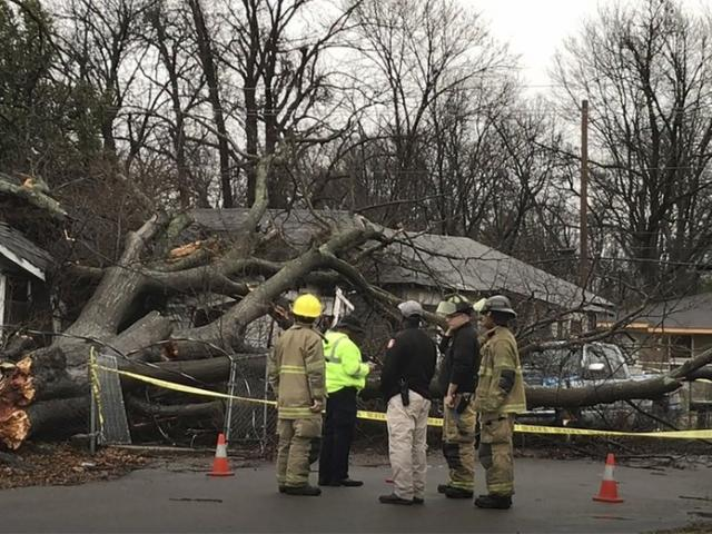 Storms are blamed for a number of deaths, as high winds, tornadoes and unrelenting rain battered a large area of the South. (Faith Alford/WABG via AP)