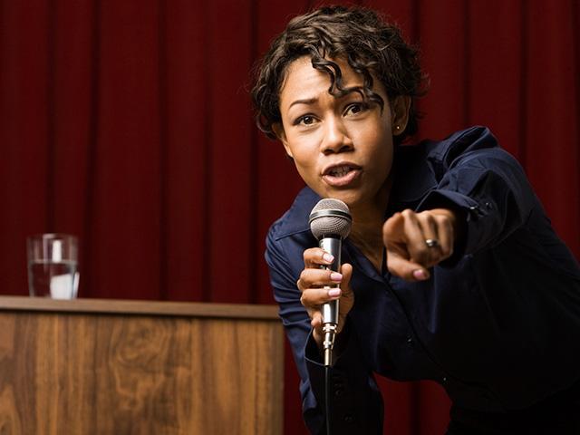 woman giving debate speech