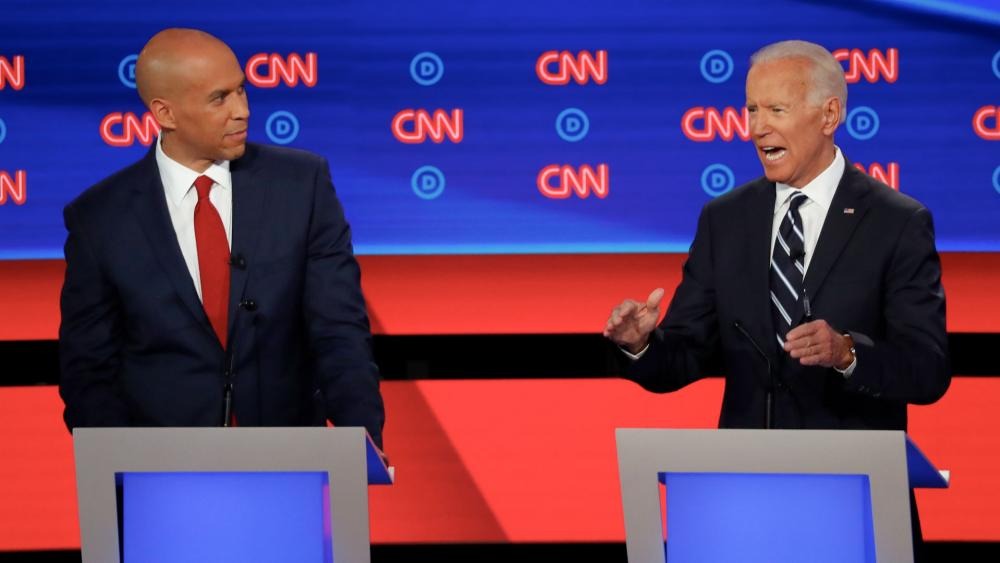 Booker and Biden at Democratic Debate