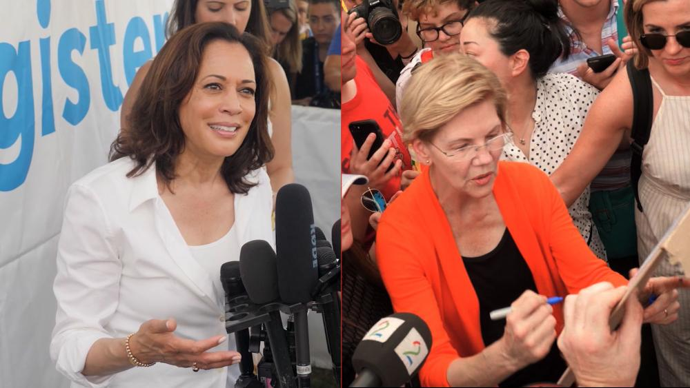 Democratic 2020 candidates like Sen. Kamala Harris (left) and Sen. Elizabeth Warren (right) have been stumping at the Iowa State Fair (AP Photos)