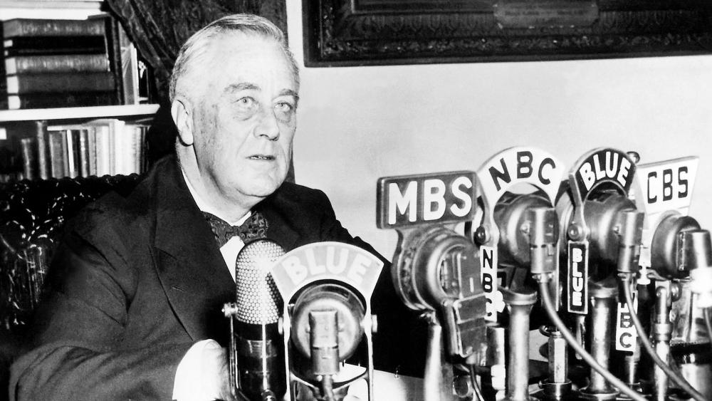 President Franklin D. Roosevelt at the White House in Washington, D.C., delivering a national radio address on January 11, 1944.  A little over five months later, he would address the nation about the D-Day invasion. (Image credit: Wikimedia.org)