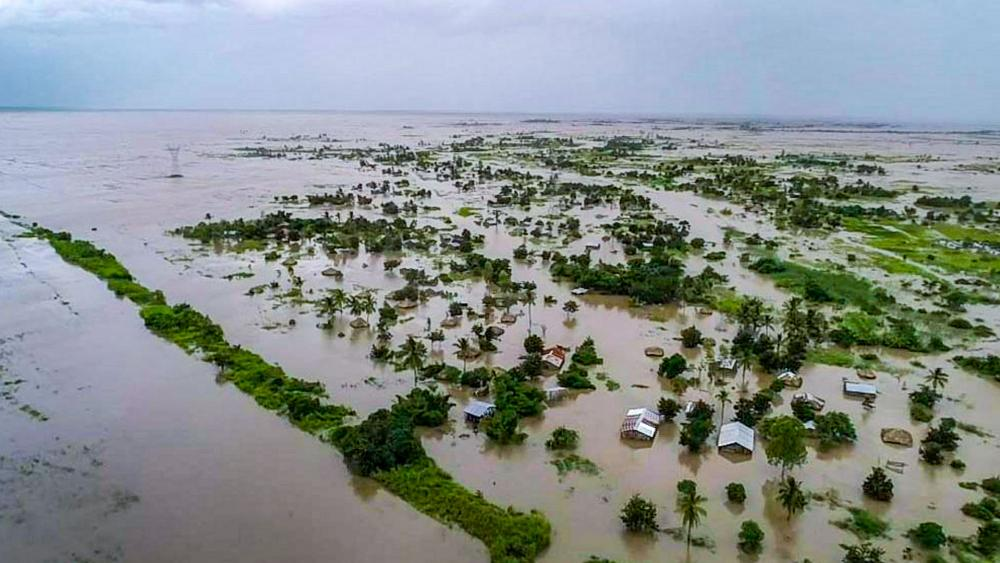 This photo issued Tuesday March 19, 2019, taken within last week and supplied by World Food Programme, flood waters cover large tracts of land in Nicoadala, Zambezia Province of Mozambique. (Photo World Food Programme via AP)