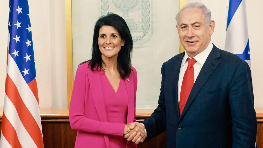Israeli Prime Minister Benjamin Netanyahu and US Ambassador to the UN Nikki Haley